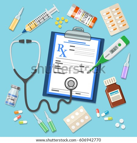Set of medicinal icons in flat style. Prescription, thermometer, stethoscope, tablets and syringe. isolated vector illustration