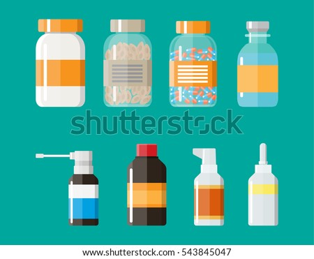 Set of medicine bottles with labels and pills. drugs, tablets,capsules vitamins. vector illustration in flat style.