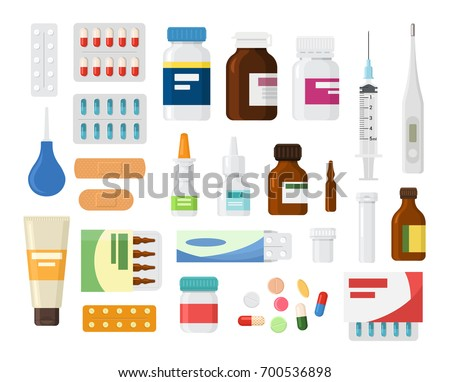 Set of medicine bottles with pills. drugs, tablets, sprays, hospital equipment