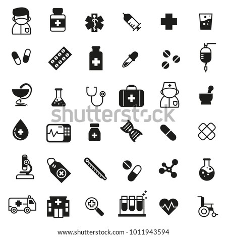 set of medicine icons with black color