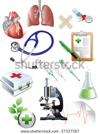 Set of medicine objects. All elements and textures are individual objects. Vector illustration scale to any size.