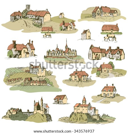 set of medieval castles and old