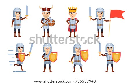 set of medieval knight