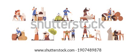 Set of medieval people working as blacksmith, potter, peasant, annalist, plague doctor, executioner. Scenes of daily life in Middle Ages. Colored flat vector illustration isolated on white background Stockfoto ©