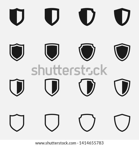 Set of medieval shields black and white vector icon. Photo stock ©