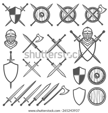 set of medieval swords  shields