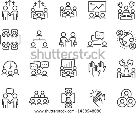 set of meeting icons, such as  group, team, people, conference, leader, discussion