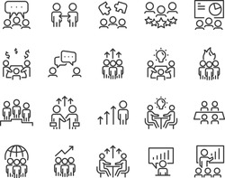 set of meeting icons, such as seminar, classroom, team, conference, work, classroom