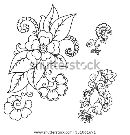 Set Of Mehndi Flower Pattern For Henna Drawing And Tattoo