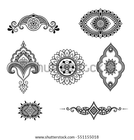 stock-vector-set-of-mehndi-flower-pattern-for-henna-drawing-and-tattoo-decoration-in-ethnic-oriental-indian