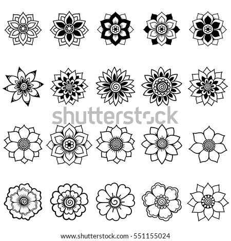 Set of Mehndi flower pattern for Henna drawing and tattoo. Decoration in ethnic oriental, Indian style. #551155024