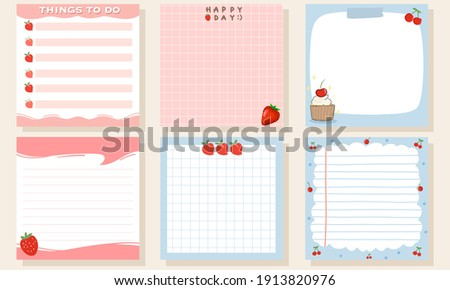 Set of memo pads, square notepads with red fruit hand drawn vector illustration flat design. Stockfoto ©