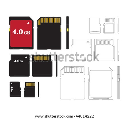 Set of memory cards for technical illustrations