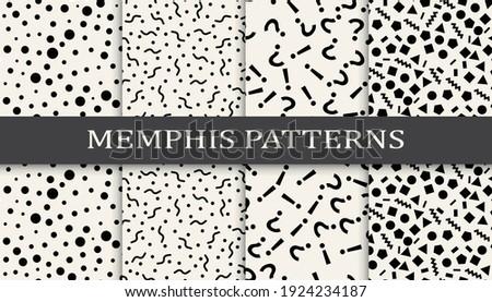 Set of memphis style seamless patterns. Abstract graphic design memphis pattern. Seamless memphis style background pattern.