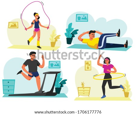 Set of men and women exercise at home. Using the house as a gym.  Vector illustration in flat cartoon style.