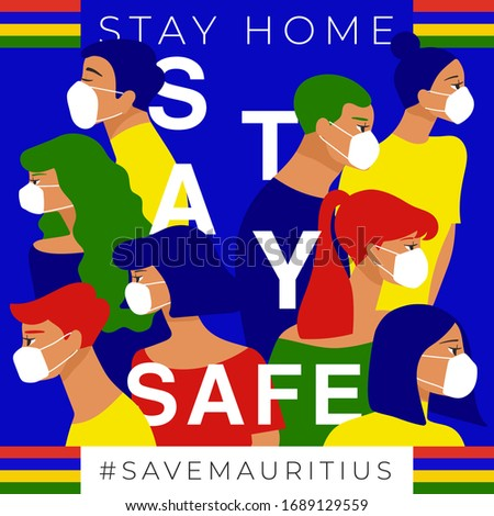 Set of men and women wearing medical mask preventing air pollution and virus with national flag : Mauritius : Stay home, stay safe poster layout : Vector Illustration