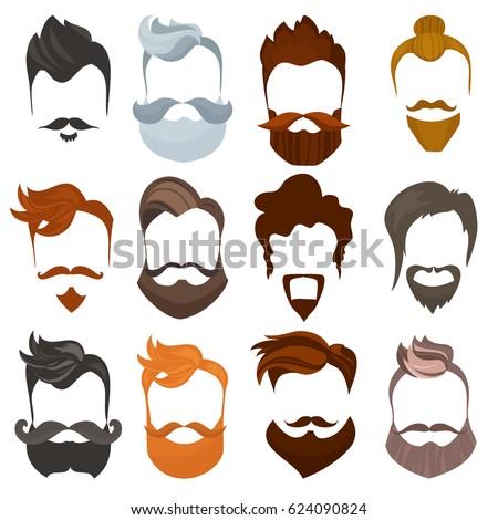 set of men cartoon hairstyles