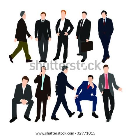 Set of Men in Suits - Vector