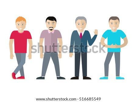 set of men of different age and