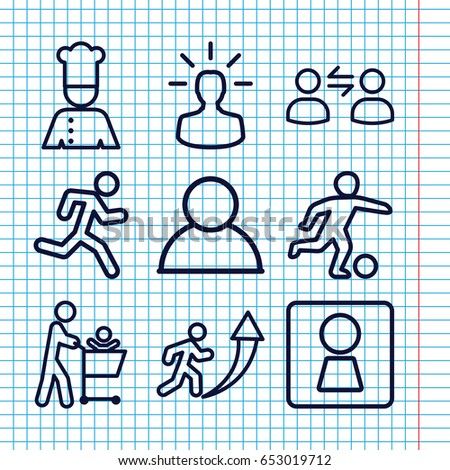 set of 9 men outline icons such
