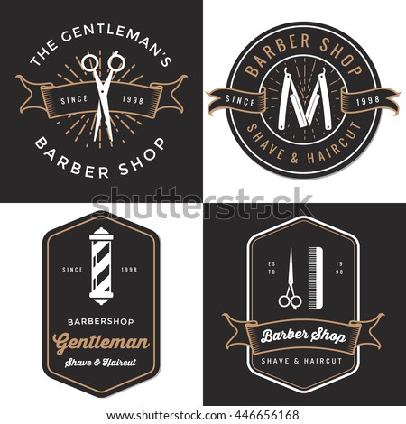 set of men's barber shop logo ...