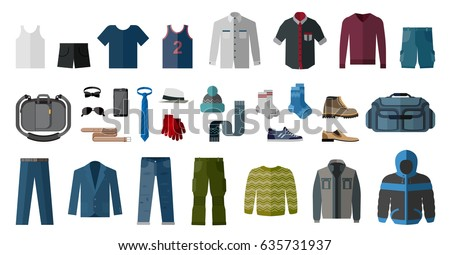 Set of men's clothing and accessories. Fashion and style elements. Flat design vector illustration.