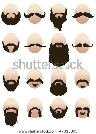 Set of men's faces with beards and mustaches