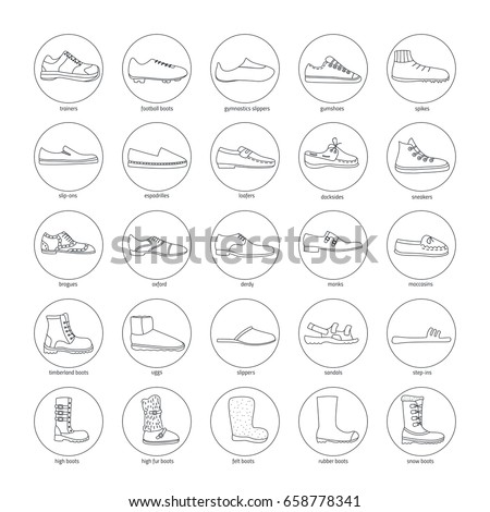 Set of men's footwear icons (boots, slippers, gumshoe, oxford shoes, espadrilles, top-siders, monks, snow boots, sandals, derdy shoes). Round icons in a linear style.