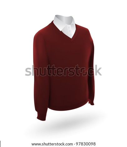 Set of men's shirt and dark red sweater template.