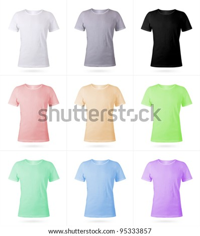 Set of 9 men T-shirt templates. Photo-realistic mesh design.