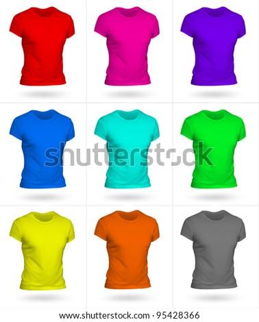 Set of 9 men T-shirt templates. Photo-realistic mesh design.
