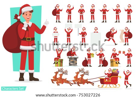 Set of men with Santa Claus character design for christmas. Presentation in various action.