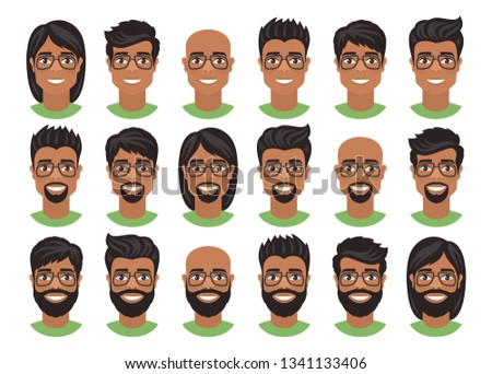 Set of mens avatars with various hairstyles: long or short hair, bald, with beard or goatee. Brown eyes, dark skin, black hair and glasses. Cartoon portraits isolated on white background. Flat style.  ストックフォト ©
