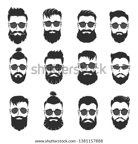 Set of mens' heads with different beards and sunglasses isolated on white. Vector illustration.