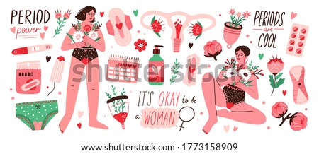 Set of menstruation, period, female uterus, reproductive system stickers. Women with flowers, pregnancy test, tampons, calendar, womb in cartoon vector illustration isolated on white background