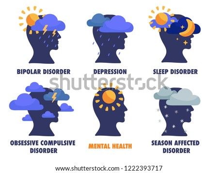 Set of mental states illustrations. Depression, bipolar, seasonal affected, sleep disorder, OCD.  Mental health weather concept. Psychology and psychiatry sign logo. Vector flat isolated