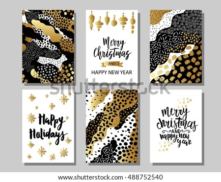 Set of Merry Christmas and Happy New Year card template. Hand drawn textures, lettering. Golden metallic, black, white colors.  Holiday greetings. EPS10 vector. #488752540