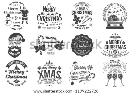 Set of Merry Christmas and 2019 Happy New Year stamp, sticker Set quotes with snowflakes, snowman, santa claus, candy, sweet candy, cookies. Vector. Vintage typography design for xmas, new year emblem - Shutterstock ID 1199222728