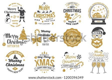 Set of Merry Christmas and 2019 Happy New Year stamp, sticker Set quotes with snowflakes, snowman, santa claus, candy, sweet candy, cookies. Vector. Vintage typography design for xmas, new year emblem - Shutterstock ID 1200396349