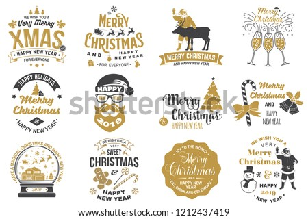 Set of Merry Christmas and 2019 Happy New Year stamp, sticker Set quotes with snowflakes, snowman, santa claus, candy, sweet candy, cookies. Vector. Vintage typography design for xmas, new year emblem - Shutterstock ID 1212437419