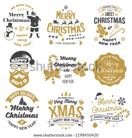 Set of Merry Christmas and 2019 Happy New Year stamp, sticker set with snowflakes, snowman, santa claus, candy, sweet candy, cookies. Vector. Vintage typography design for xmas, new year emblem. - Shutterstock ID 1198450420