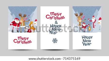 set of merry christmas and