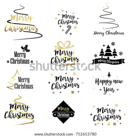Set of Merry Christmas design elements - Shutterstock ID 752653780