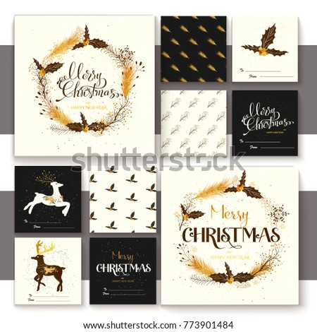 Set of merry christmas elements with lettering, seamless pattern and illustration. Retro golden stile. #773901484