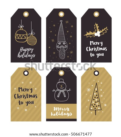 Set of Merry Christmas gift tags with hand drawing holiday elements. Vector illustration.