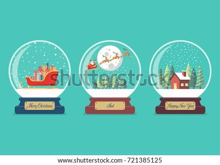 set of merry christmas glass
