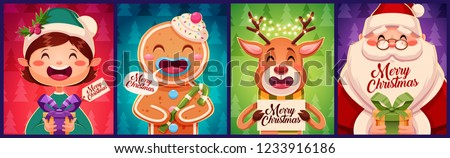 Set of Merry Christmas greeting cards design. With Christmas characters holding gift boxes. Vector illustration