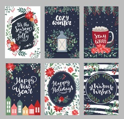 Set of Merry Christmas greeting handdrawn lettering cards in traditional colors, vertical banners, flyers,invitations. Happy Holidays and New Year cards with christmas florals and winter season object