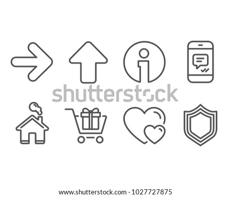 Set of Message, Next and Shopping cart icons. Hearts, Upload and Security signs. Phone messenger, Forward, Gift box. Romantic relationships, Load arrowhead, Protection shield. Vector