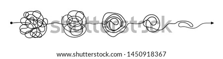 Set of messy clew symbols connected between them line of symbols with scribbled round element, consept of transition from complicated to simple, isolated on white background Vector illustration.